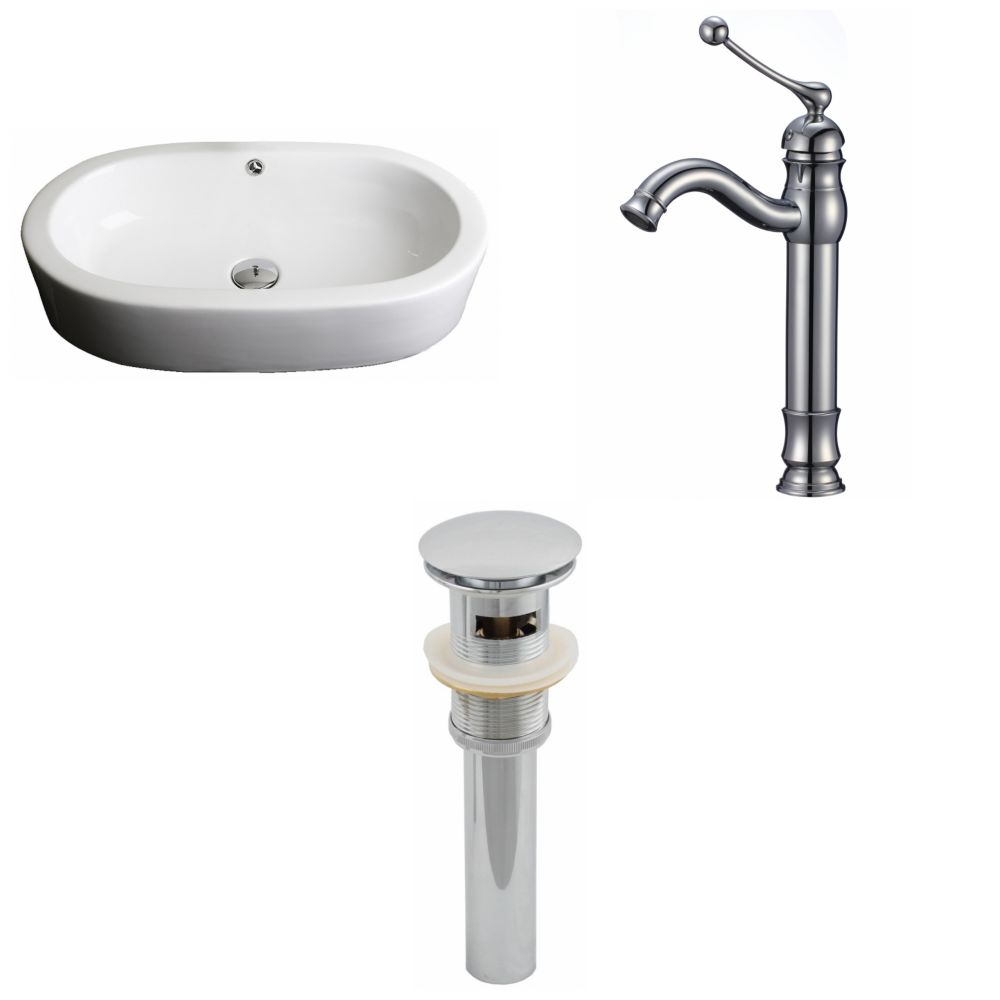 25-inch W x 15-inch D Oval Vessel Sink in White with Deck-Mount Faucet and Drain