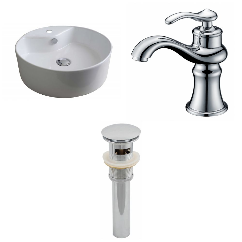 18-inch W x 18-inch D Round Vessel Sink in White with Faucet and Drain