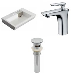 American Imaginations 26-in. W x 18 po. D Rectangle navire Set In White Couleur Avec Single Hole CUPC robinet et le drain