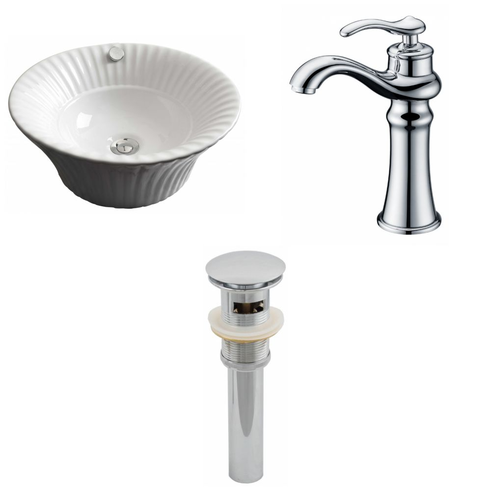 17-inch W x 17-inch D Round Vessel Sink in White with Deck-Mount Faucet and Drain