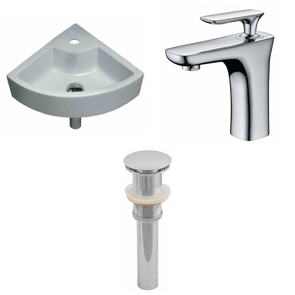 19-Inch W x 19-Inch D Unique Vessel Set In White Color With Single Hole CUPC Faucet And Drain AI-15430 Canada Discount