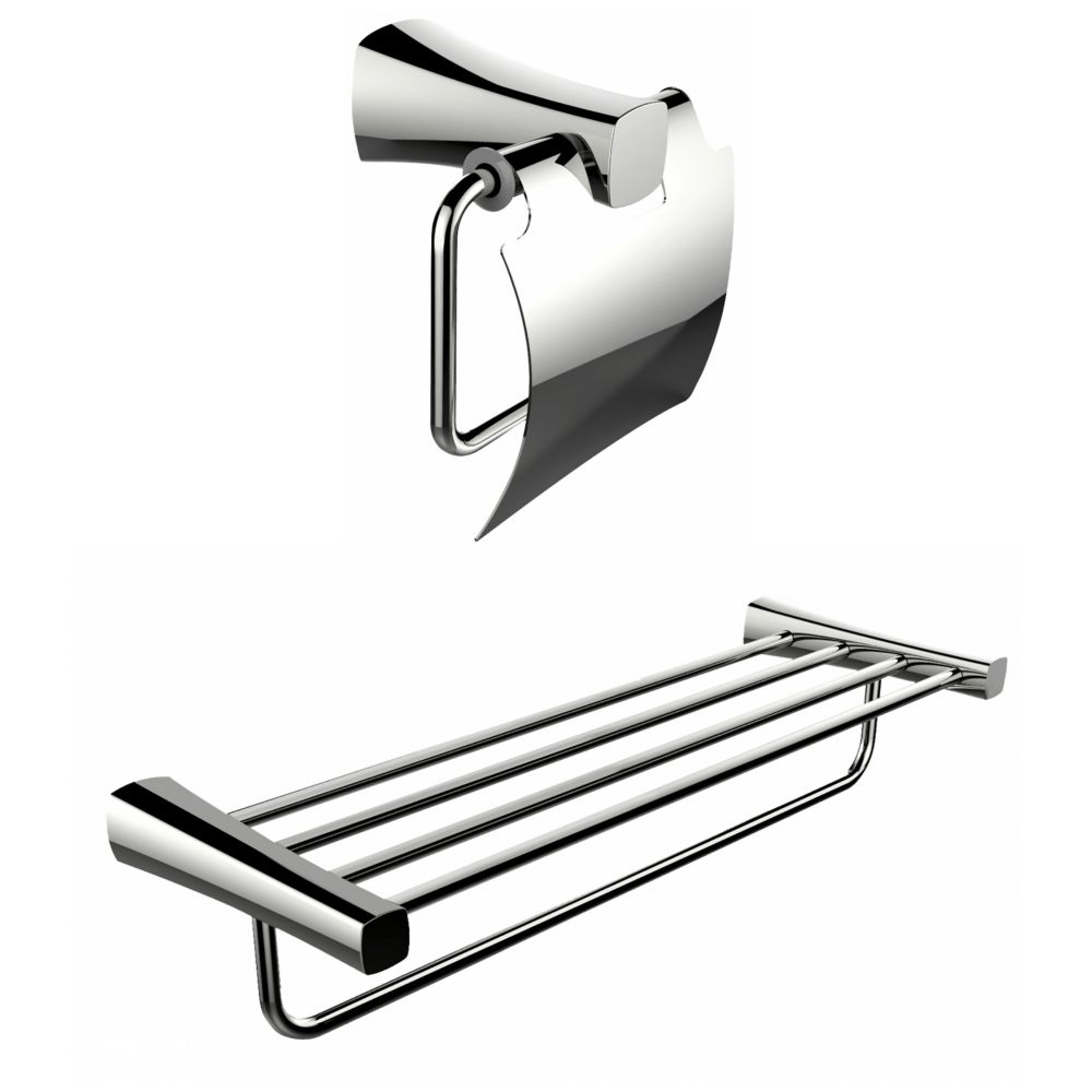 Multi-Rod Towel Rack With A Chrome Plated Toilet Paper Holder Accessory Set AI-13317 in Canada