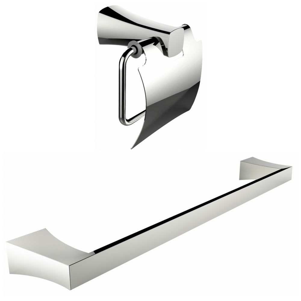 Chrome Plated Toilet Paper Holder With Single Rod Towel Rack Accessory Set AI-13318 Canada Discount