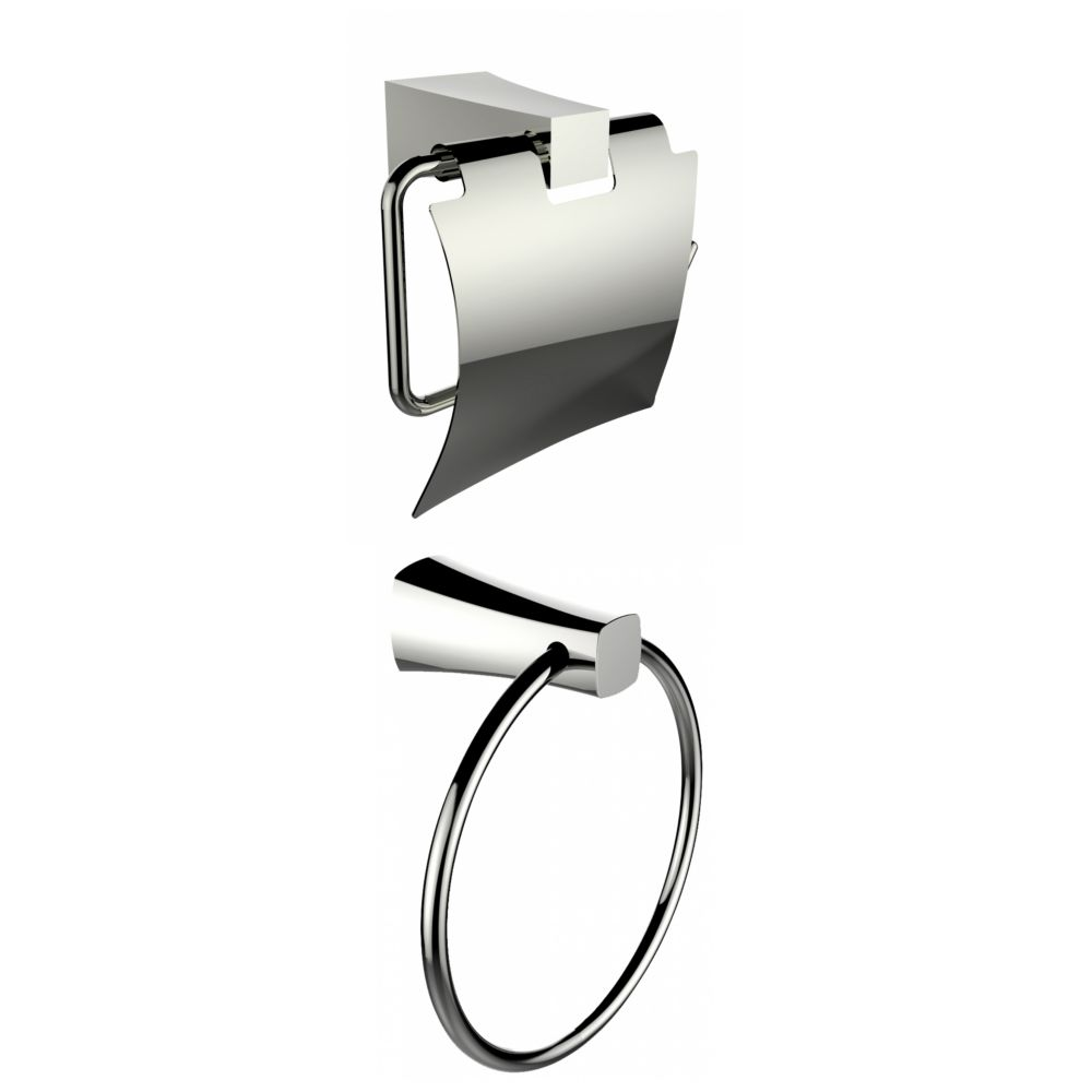Chrome Plated Towel Ring With Toilet Paper Holder Accessory Set