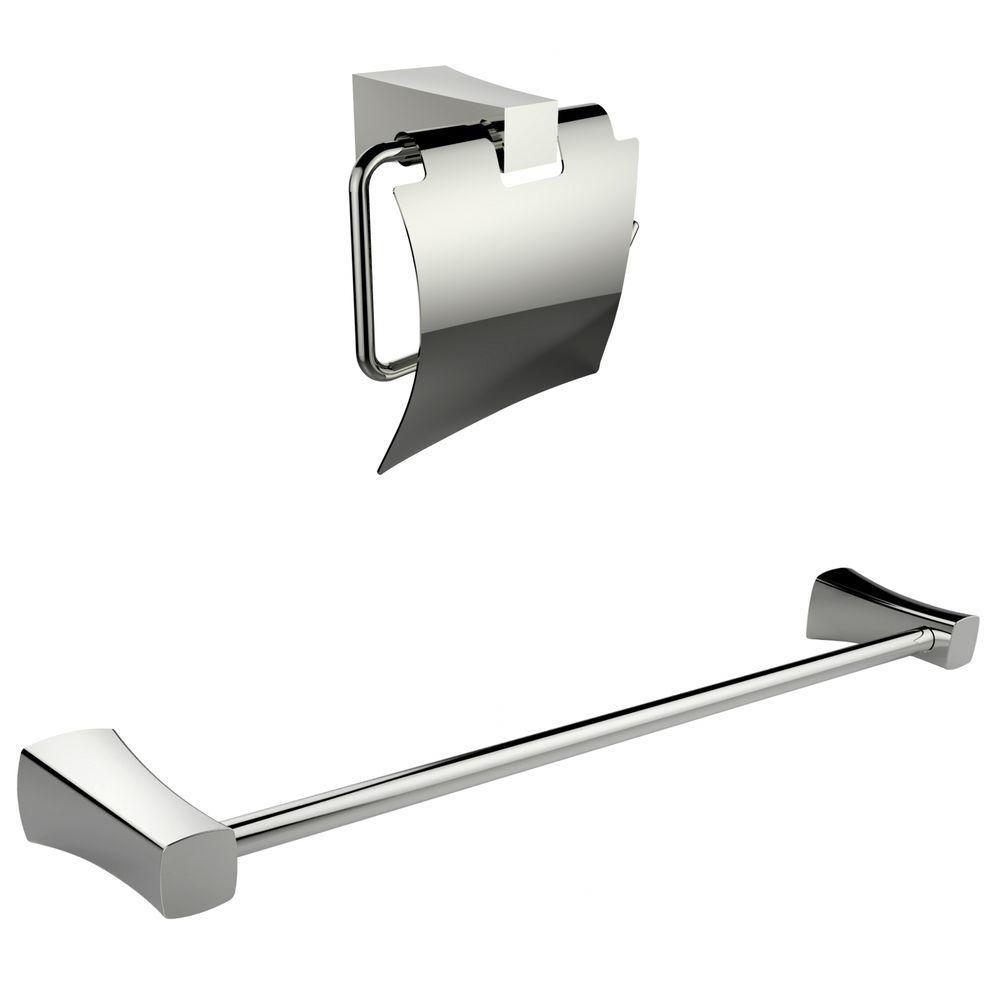 Chromé Toilet Paper Holder Avec Simple Rod Porte-serviettes Accessory Set