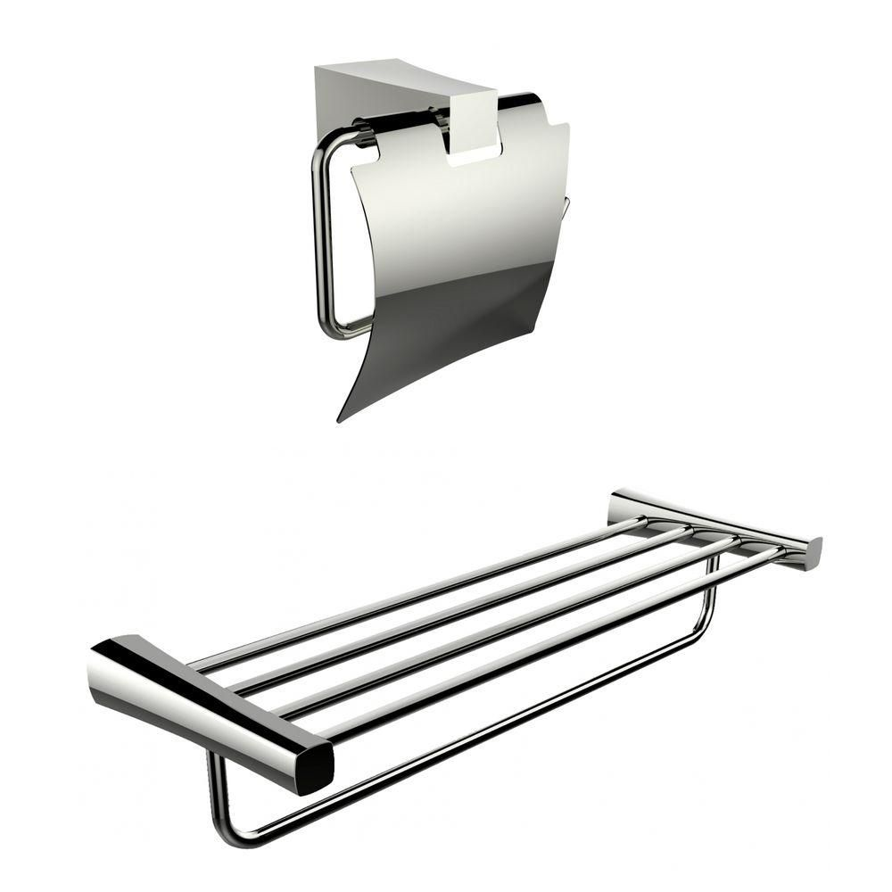 Multi-Rod Towel Rack With A Chrome Plated Toilet Paper Holder Accessory Set AI-13328 in Canada