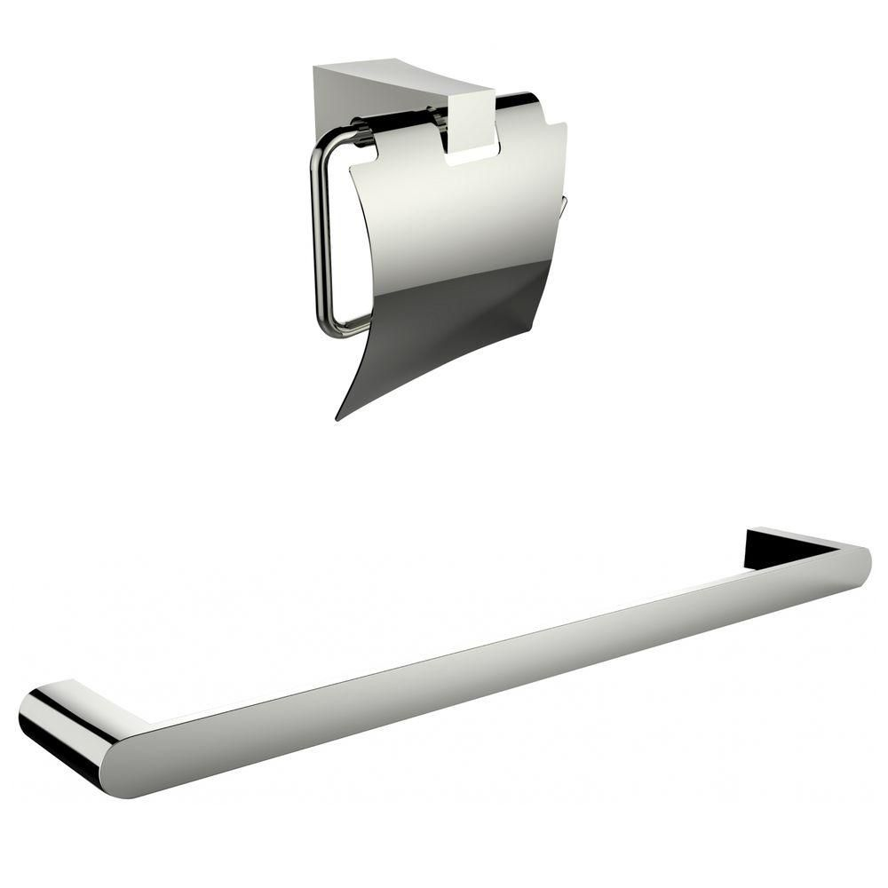 Chrome Plated Toilet Paper Holder With Single Rod Towel Rack Accessory Set AI-13331 in Canada