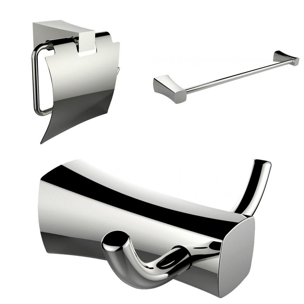 Single Rod Towel Rack, Robe Hook And Toilet Paper Holder Accessory Set AI-13428 in Canada