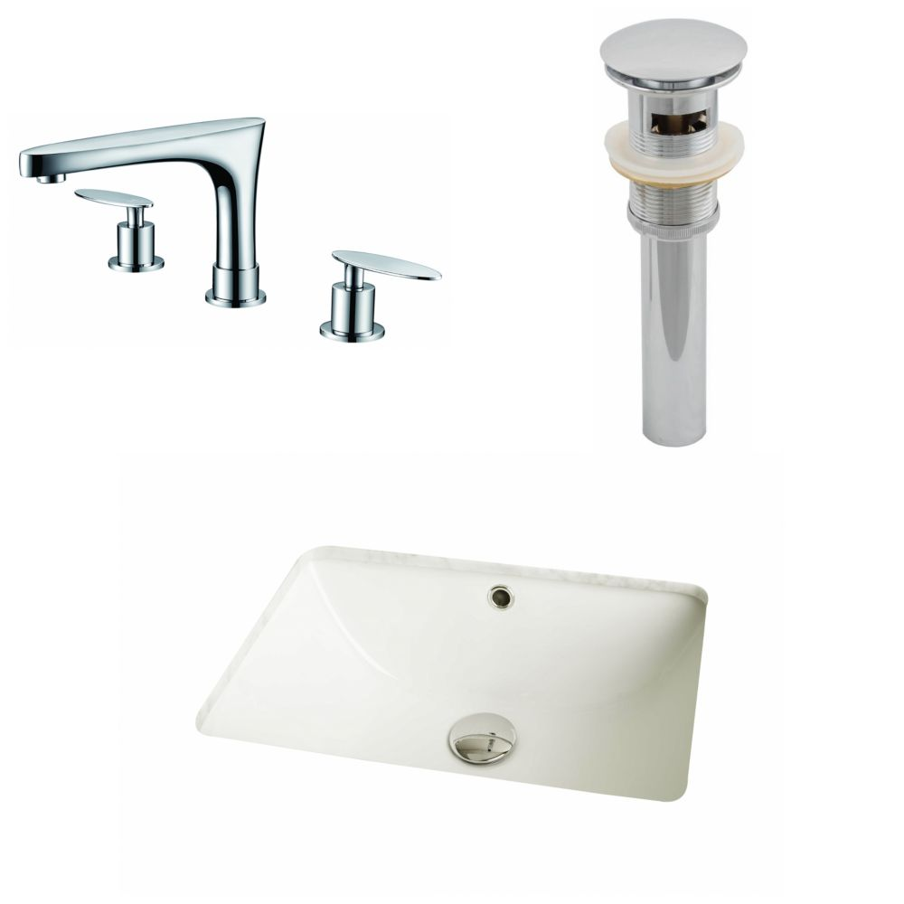 18 1/4-inch W x 13 1/2-inch D Rectangular Sink Set with 8-inch O.C. Faucet and Drain in Biscuit