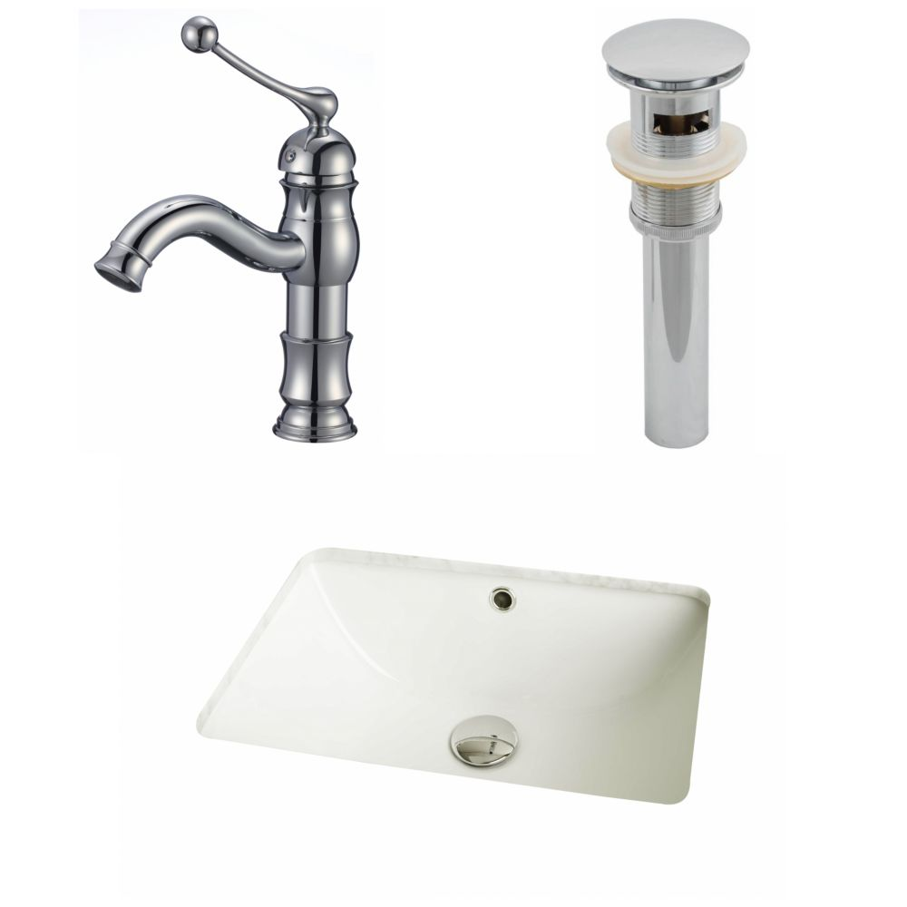 18 1/4-inch W x 13 1/2-inch D Rectangular Sink Set with Single Hole Faucet and Drain in Biscuit