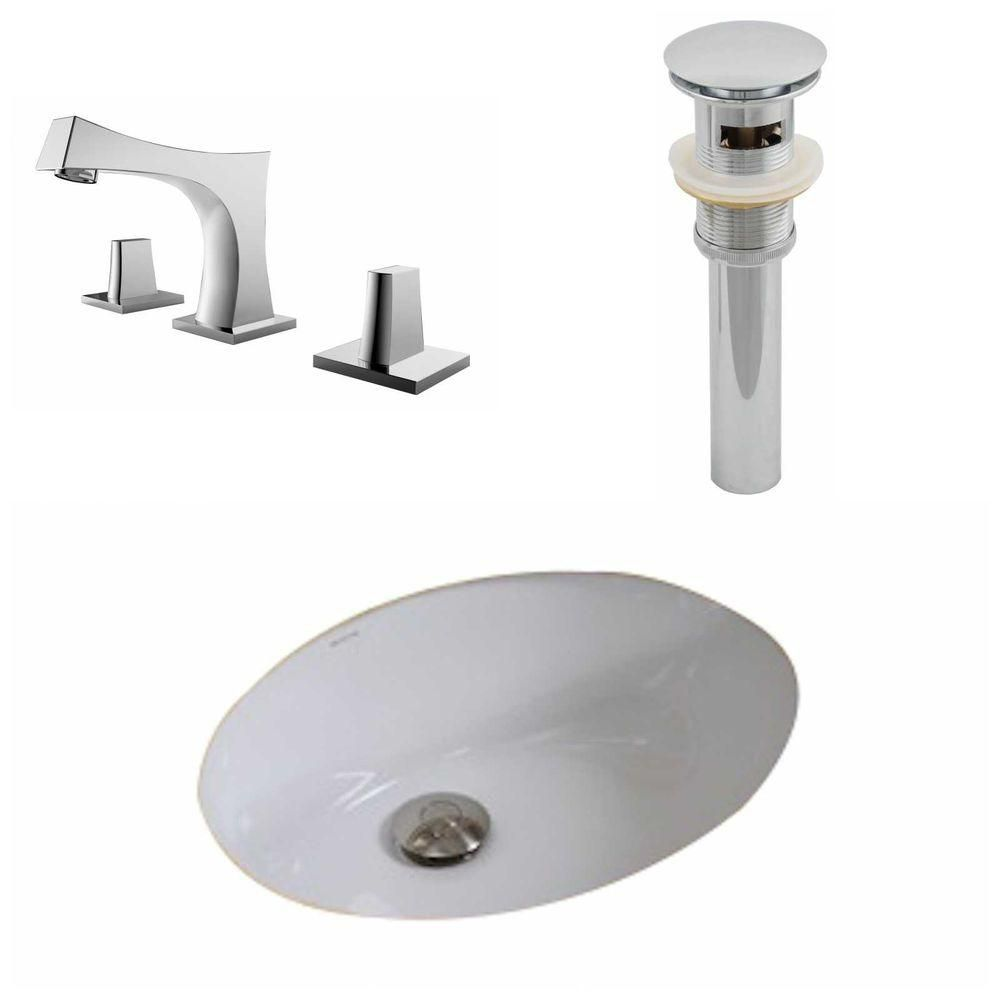 19 1/2-inch W x 16 1/4-inch D Oval Sink Set with 8-inch O.C. Faucet and Drain in White