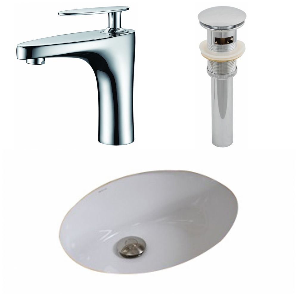 19 1/2-inch W x 16 1/4-inch D Oval Sink Set with Single Hole Faucet and Drain in White