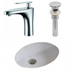 American Imaginations 19 1/2-inch W x 16 1/4-inch D Oval Sink Set with Single Hole Faucet and Drain in White