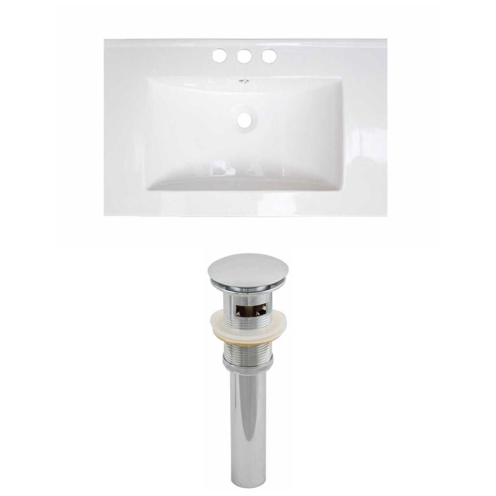 25-inch W x 22-inch D Ceramic Top with Drain in White