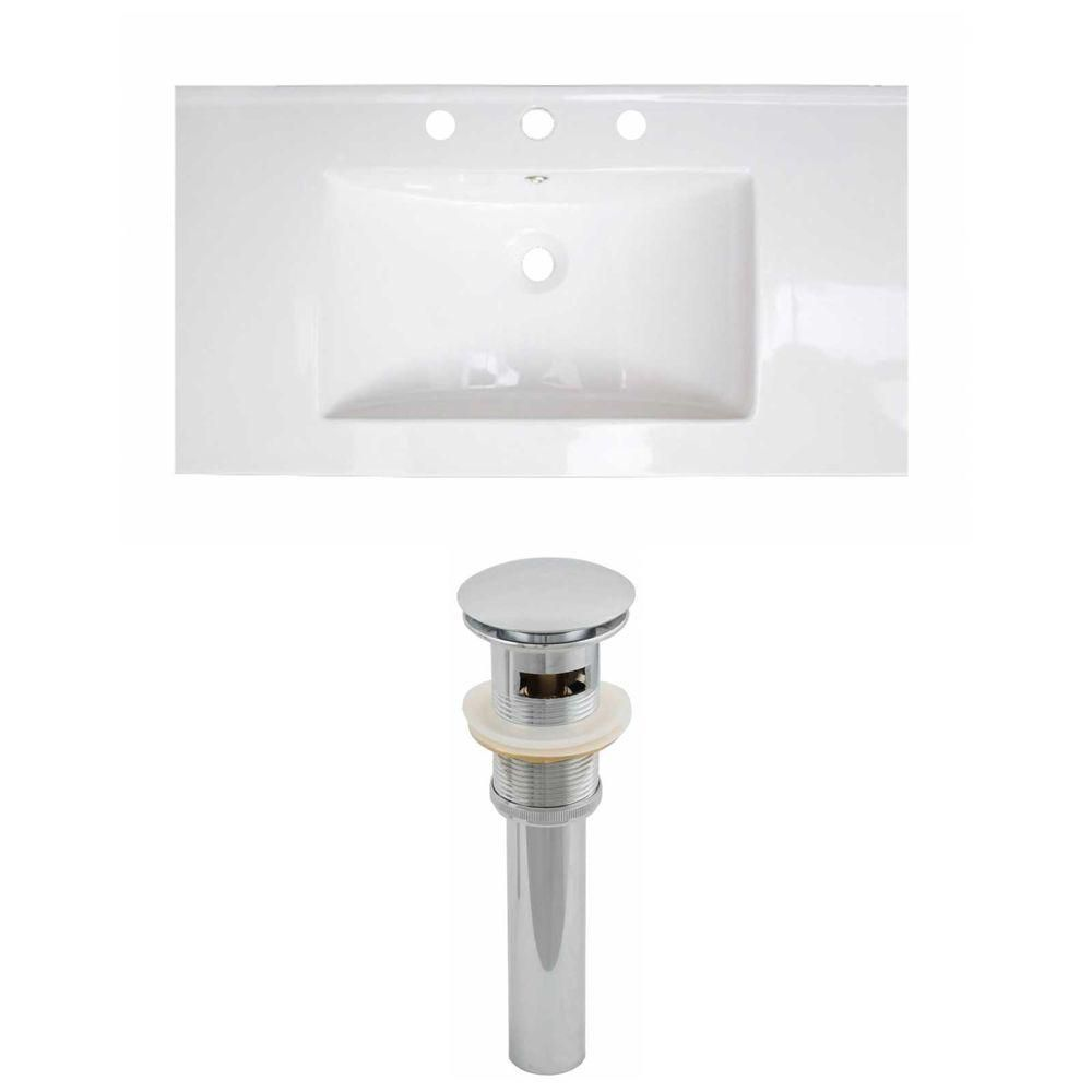 37-inch W x 22-inch D Ceramic Top Set with Drain in White