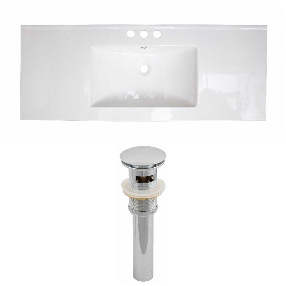 49-inch W x 22-inch D Ceramic Top Set with Drain in White