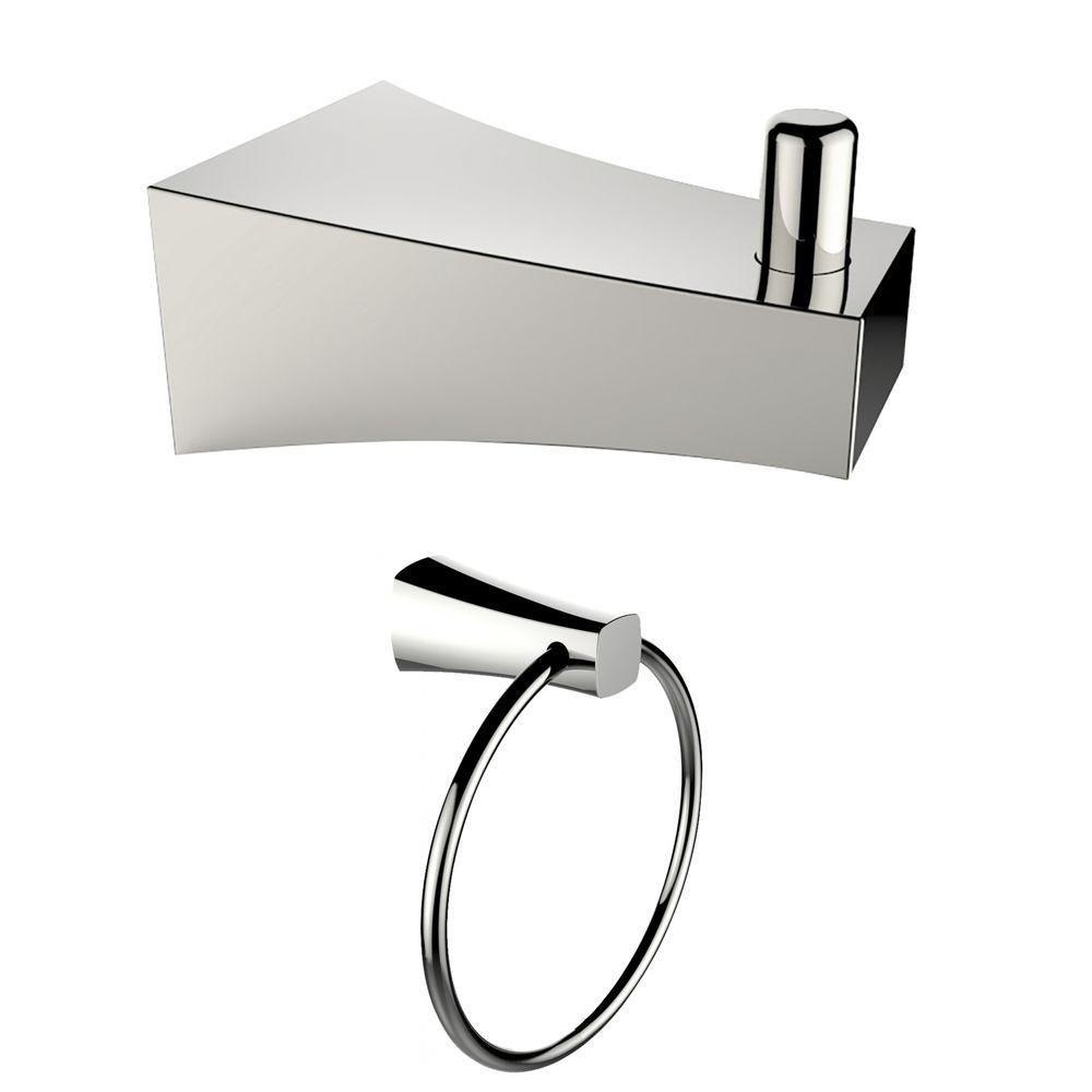 Chrome Plated Towel Ring And Robe Hook Accessory Set