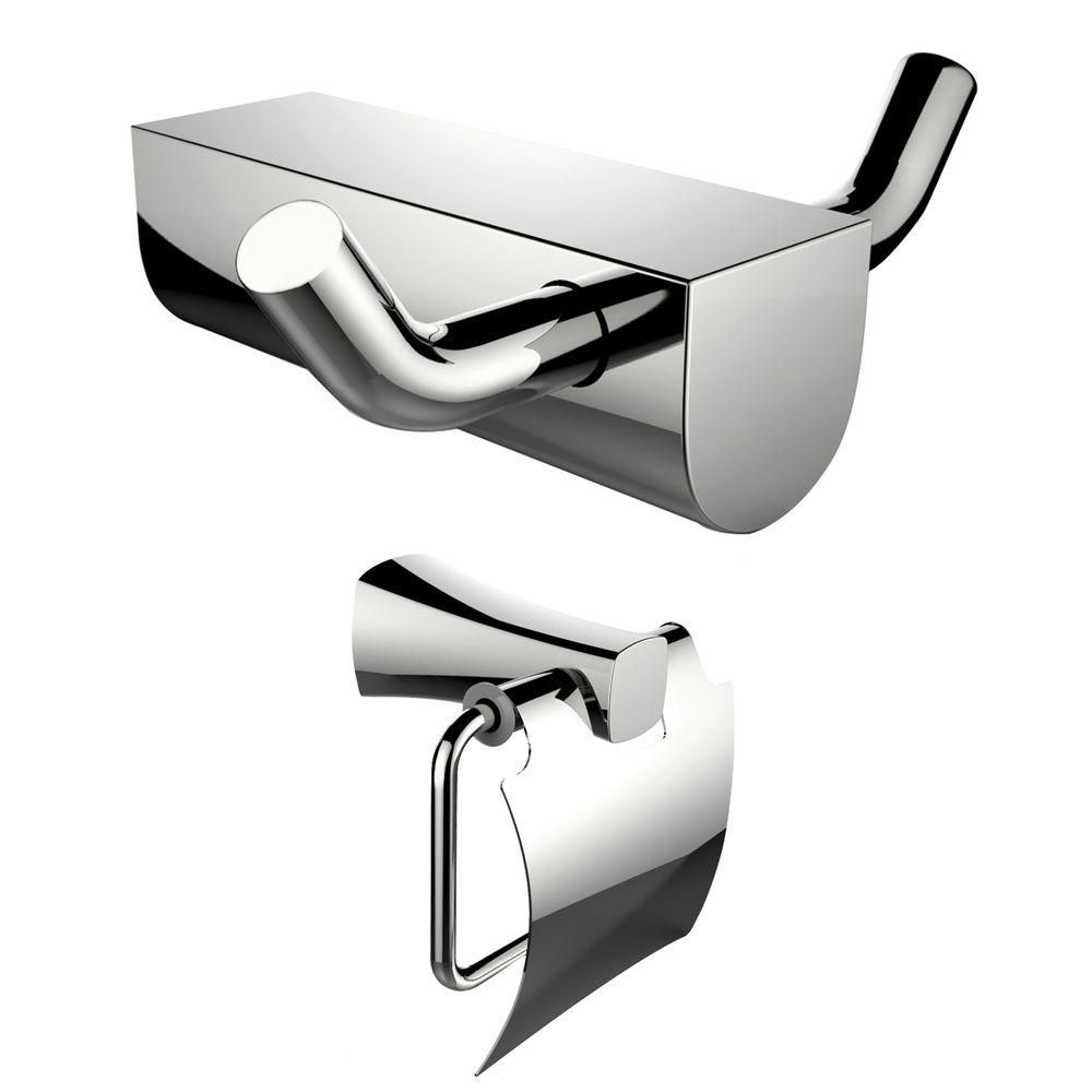 Chrome Plated Toilet Paper Holder And Double Robe Hook Accessory Set AI-13298 in Canada