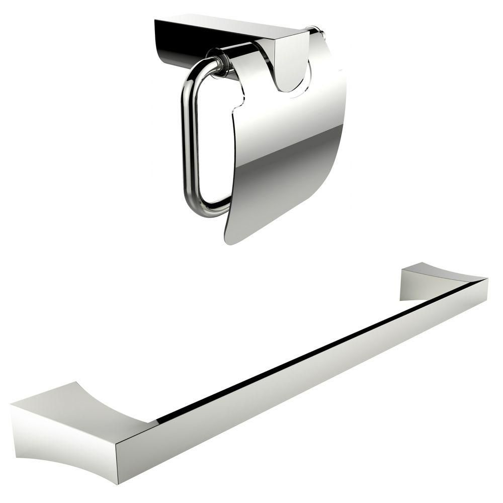 Chromé Toilet Paper Holder Avec Simple Rod Porte-serviettes Accessory Set