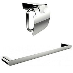Chrome Plated Toilet Paper Holder With A Single Rod Towel Rack Accessory Set