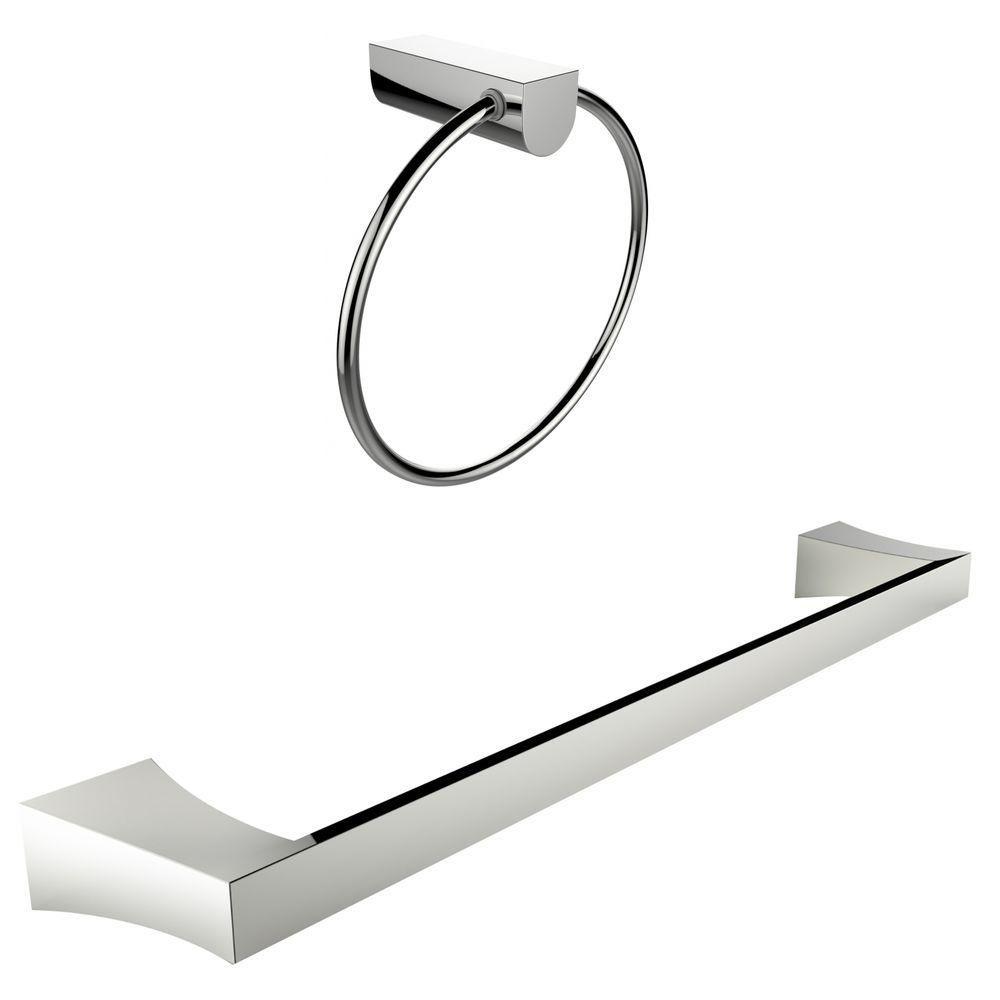 Anneau porte-serviettes chromé Avec Simple Rod Porte-serviettes Accessory Set