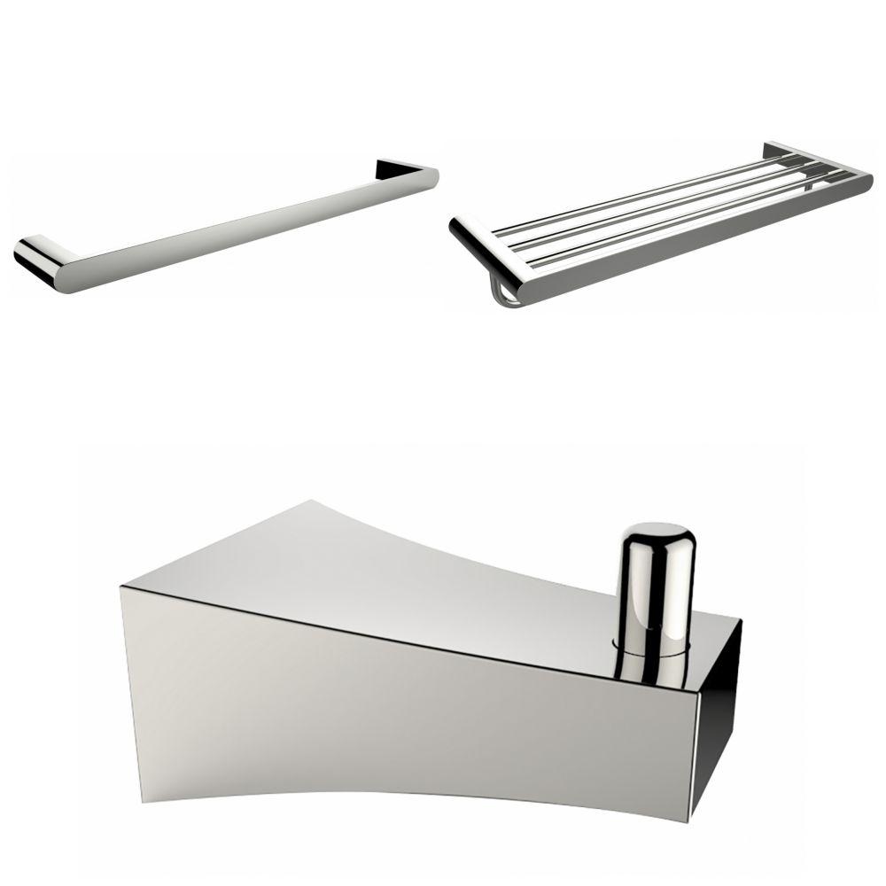 Chrome Plated Robe Hook, Multi-Rod Towel Rack, And A Single Towel Rod Accessory Set
