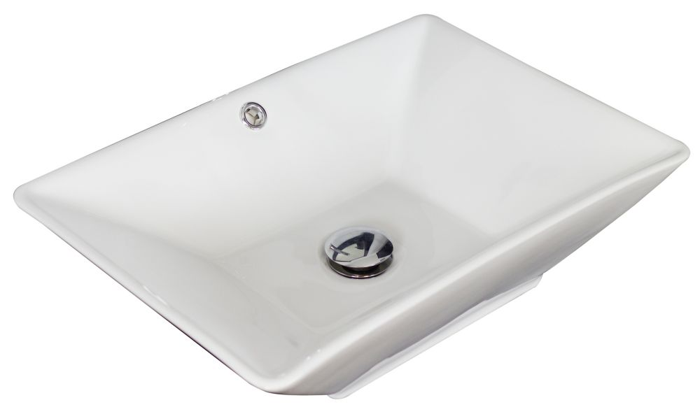 21.5- Inch W x 15- Inch D Above Counter Rectangle Vessel In White Color For Deck Mount Faucet AI-1734 in Canada