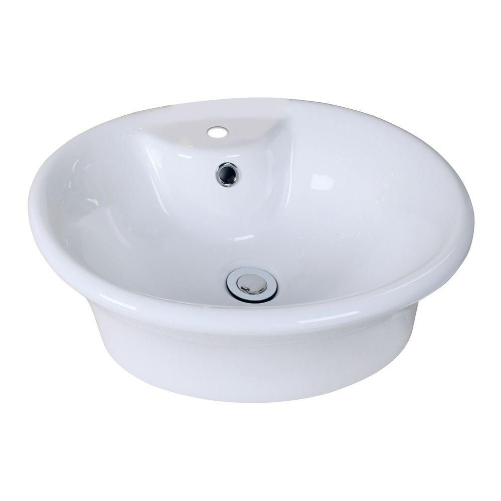 American Imaginations 19-inch W x 15-inch D Round Vessel Sink in White