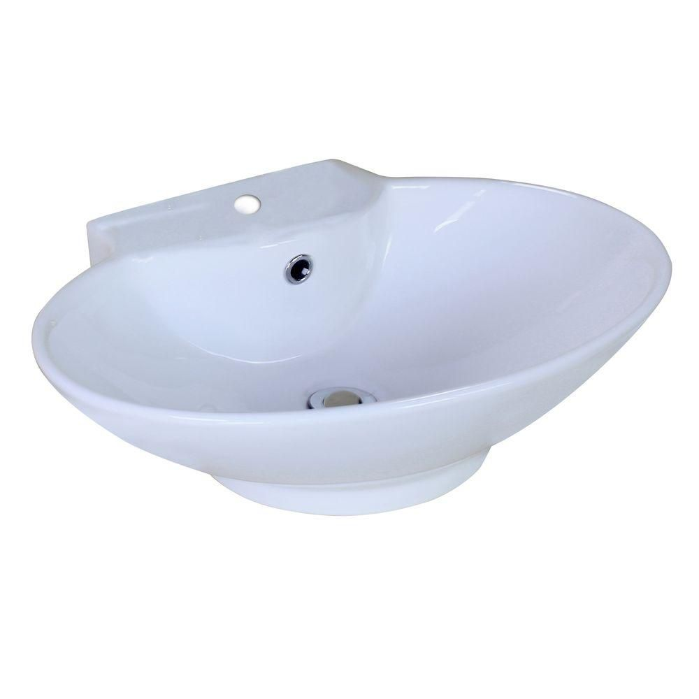 American Imaginations 22 7/8-inch W x 17 3/8-inch D Oval Vessel Sink in White
