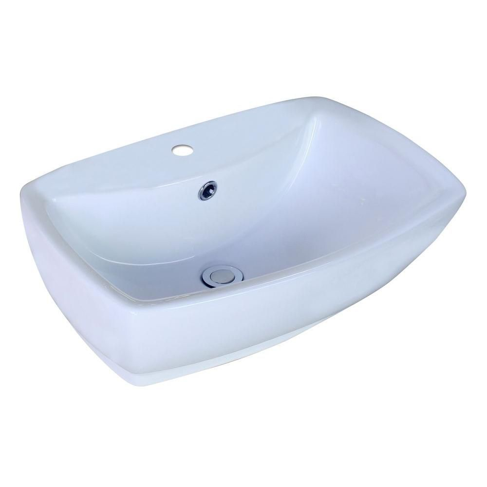 American Imaginations 21 5/8-inch W x 15 3/8-inch D Rectangular Vessel Sink in White