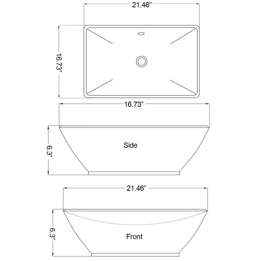 21 1/2-inch W x 16 3/4-inch D Rectangular Vessel Sink in White