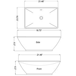American Imaginations 21 1/2-inch W x 16 3/4-inch D Rectangular Vessel Sink in White