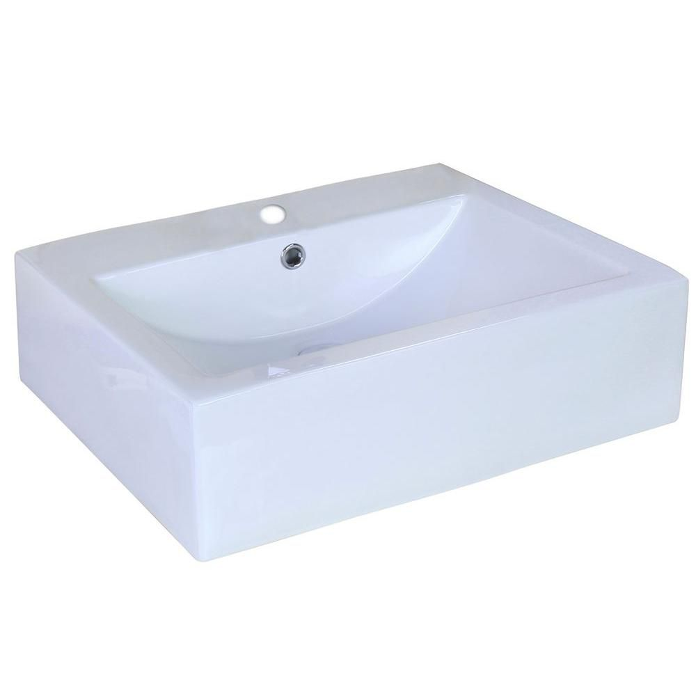 American Imaginations 20.25-in. W x 16.25-in. D Above Counter Rectangle Vessel In White Color For Single Hole Faucet