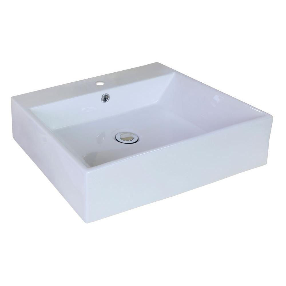 20-inch W x 16 1/2-inch D Rectangular Vessel Sink in White