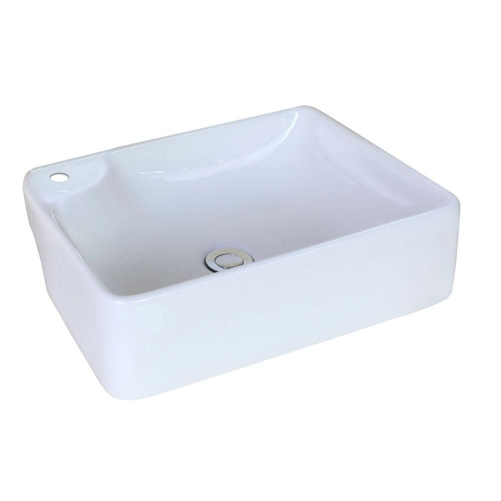 American Imaginations 17 3/8-inch W x 13 3/8-inch D Rectangular Vessel Sink in White
