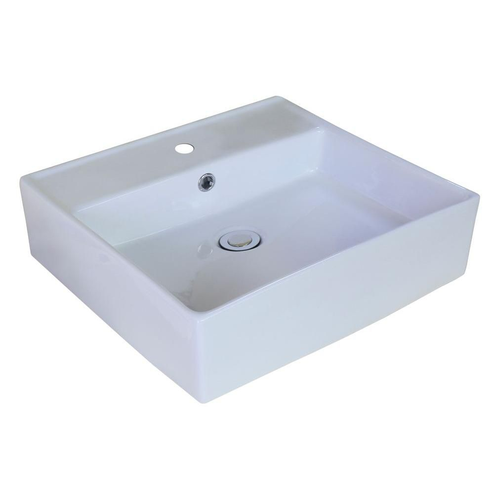 18-inch W x 18-inch D Rectangular Vessel Sink in White