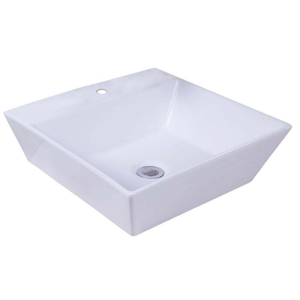 16 7/8-inch W x 16 7/8-inch D Square Vessel Sink in White