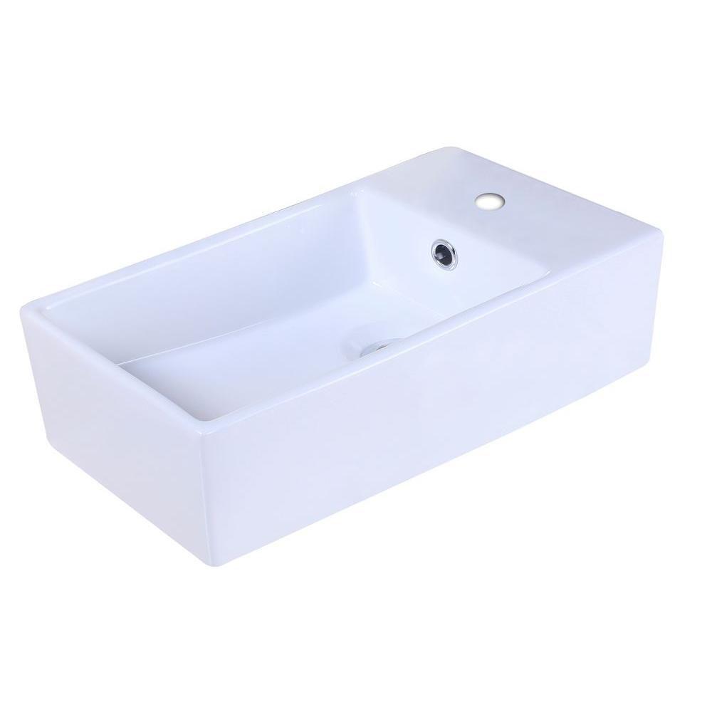 19-inch W x 9 1/2-inch D Rectangular Vessel Sink in White