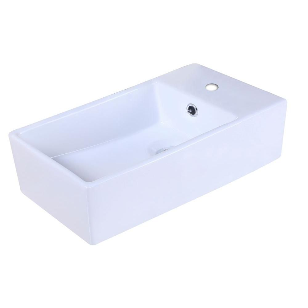 American Imaginations 19-inch W x 9 1/2-inch D Rectangular Vessel Sink in White