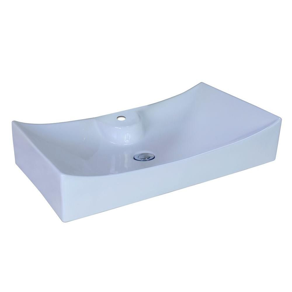 26-inch W x 15 3/8-inch D Rectangular Vessel Sink in White