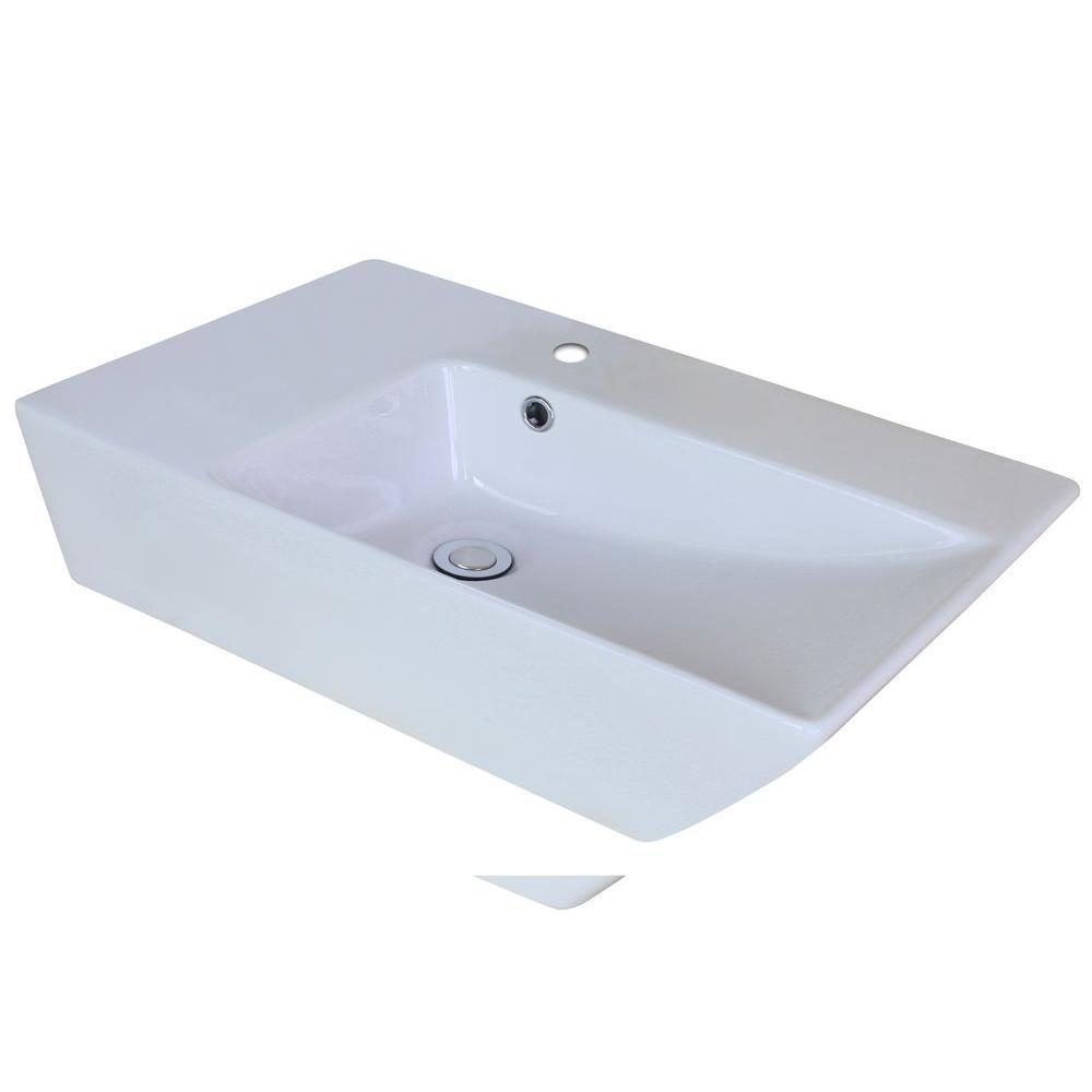 25-inch W x 15-inch D Rectangular Vessel Sink in White