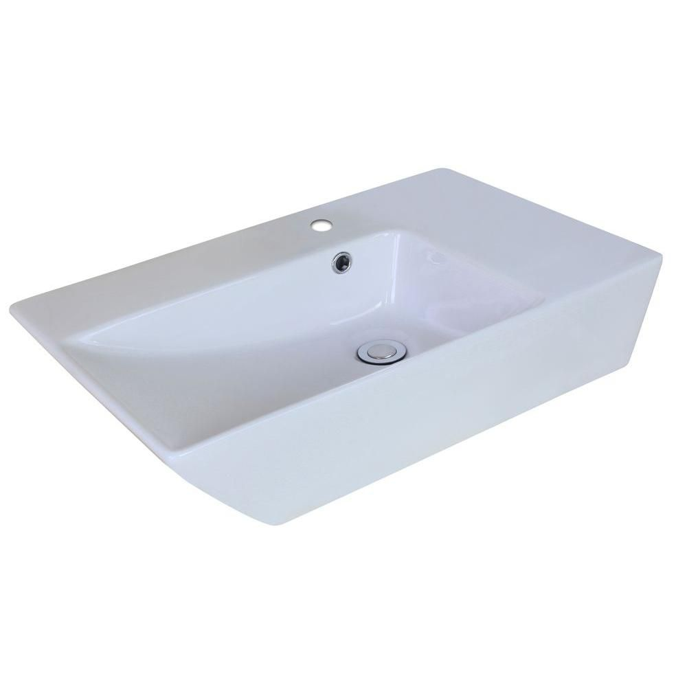 25-inch W x 15-inch D Rectangular Vessel Sink in White