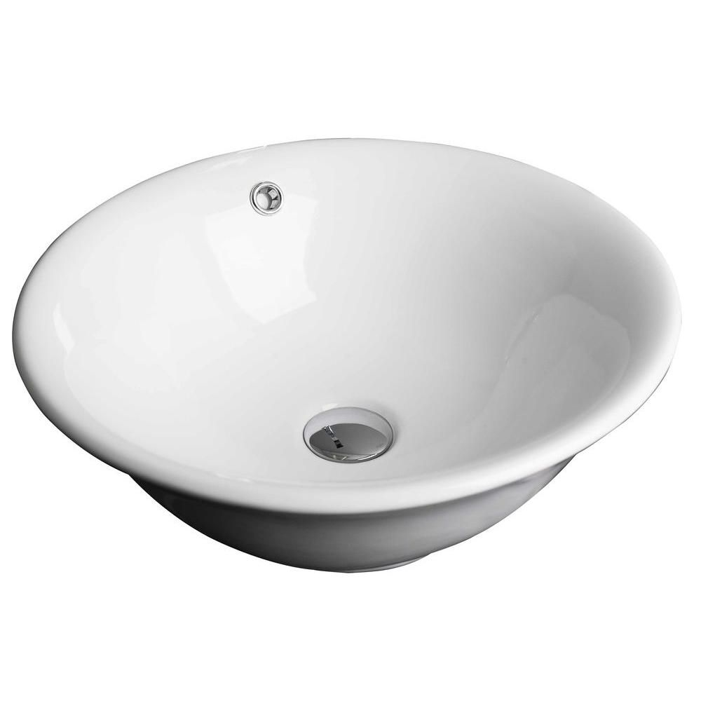 American Imaginations 18-inch W x 18-inch D Round Vessel Sink in White