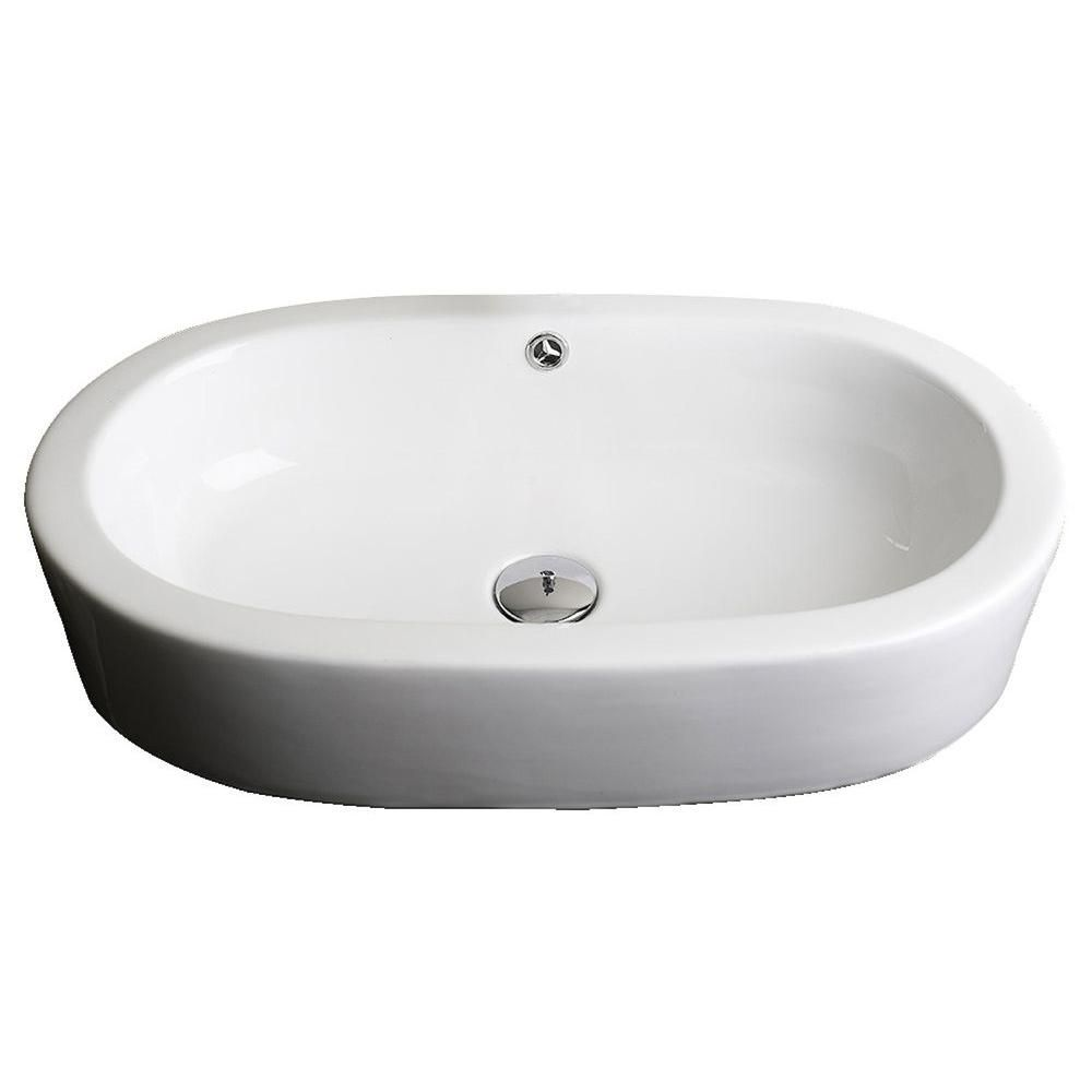 25-Inch W x 15-Inch D Semi-Recessed Oval Vessel In White Color For Wall Mount Faucet AI-14015 in Canada