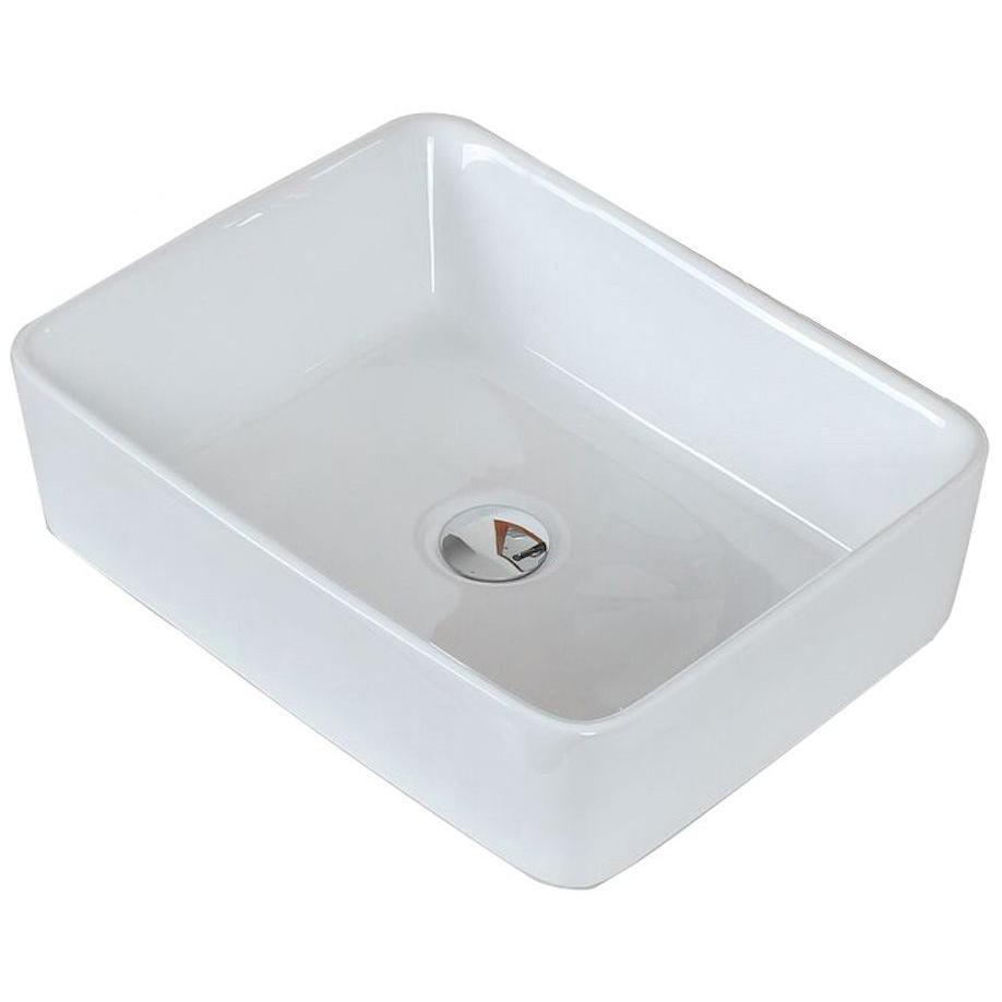 19-inch W x 14-inch D Rectangular Vessel Sink in White