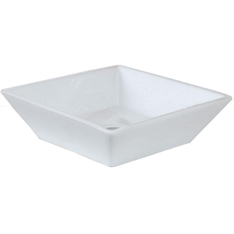 16-inch W x 16-inch D Square Vessel Sink in White