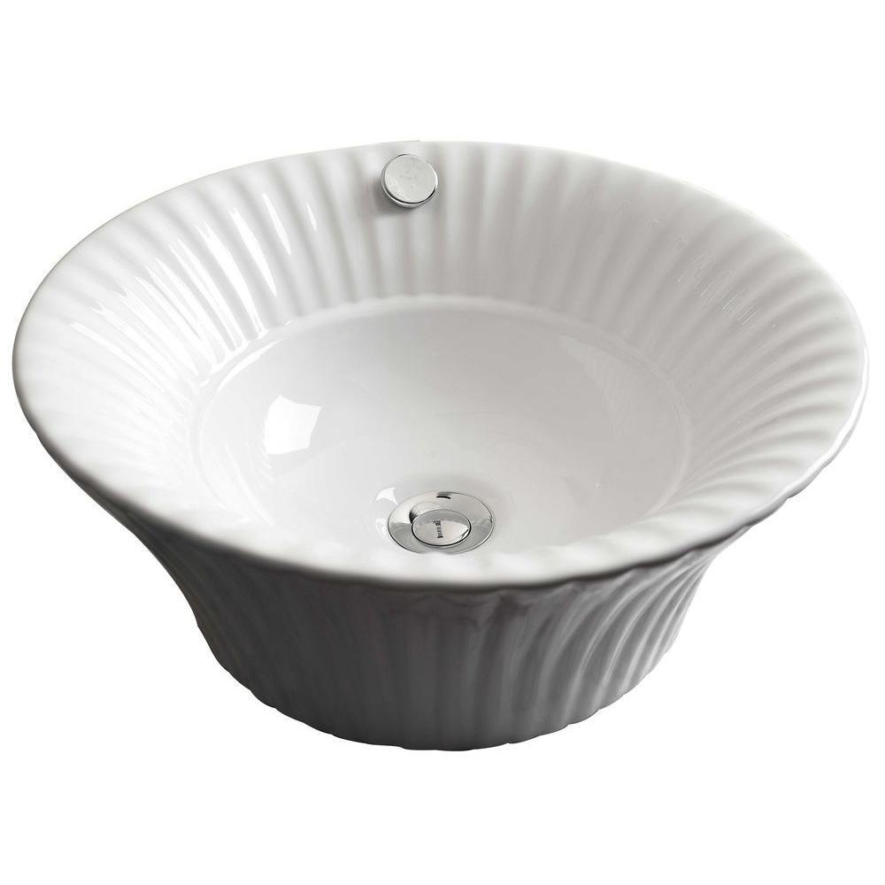 17-inch W x 17-inch D Round Vessel Sink in White