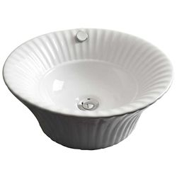 American Imaginations 17-inch W x 17-inch D Round Vessel Sink in White