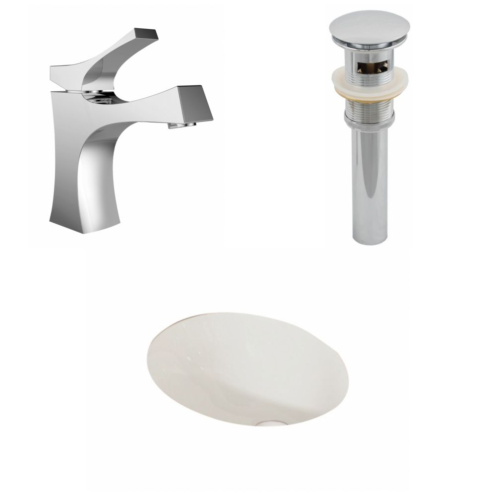 American Imaginations 19 1/4-inch W x 16-inch D Oval Sink Set with Single Hole Faucet and Drain in Biscuit