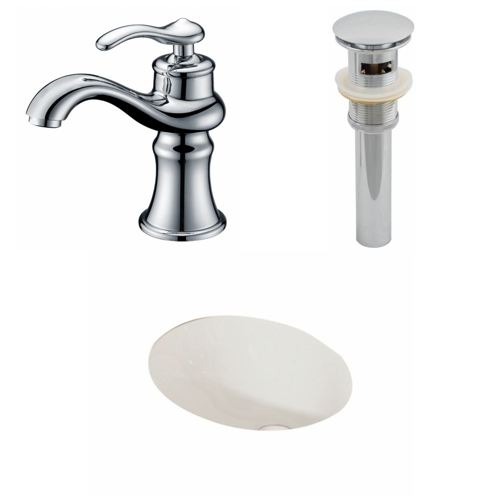 19 1/4-inch W x 16-inch D Oval Sink Set with Single Hole Faucet and Drain in Biscuit